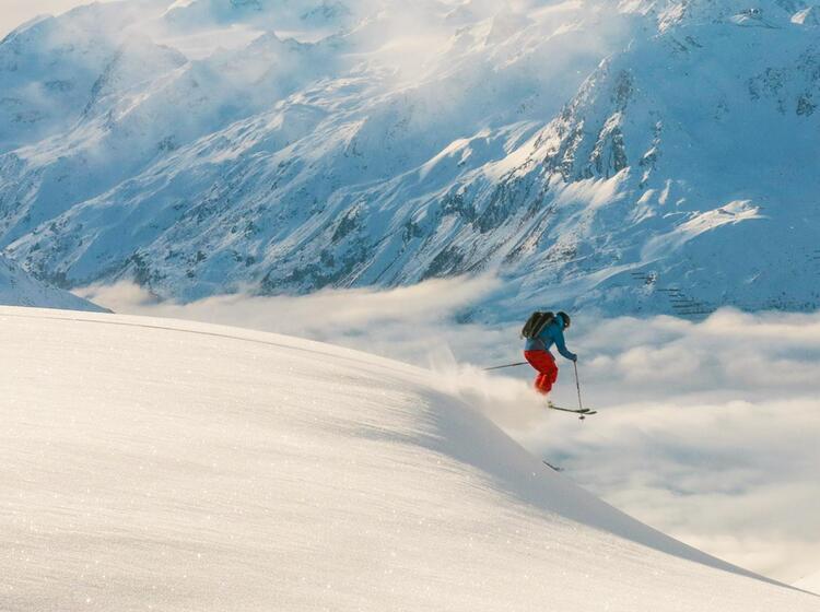 Skitouren Abfahrt Am Mont Blanc