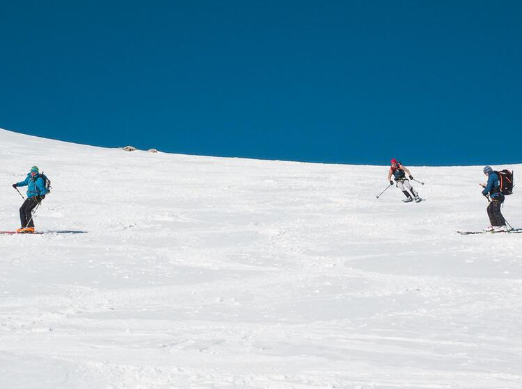 Skitouren Abfahrt Im Berner Oberland Am Aletsch Gletscher