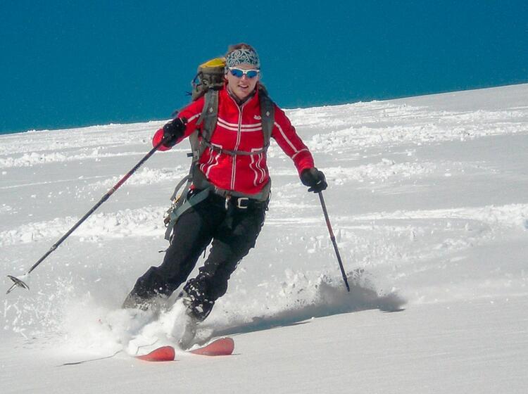Skitouren Abfahrt Im Pulverschnee Auf Skihochtour