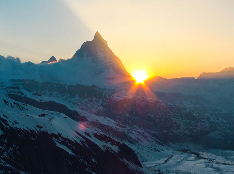 Sonnenaufgang Am Matterhorn Gesehen Von Der Neuen Monterosa Huette