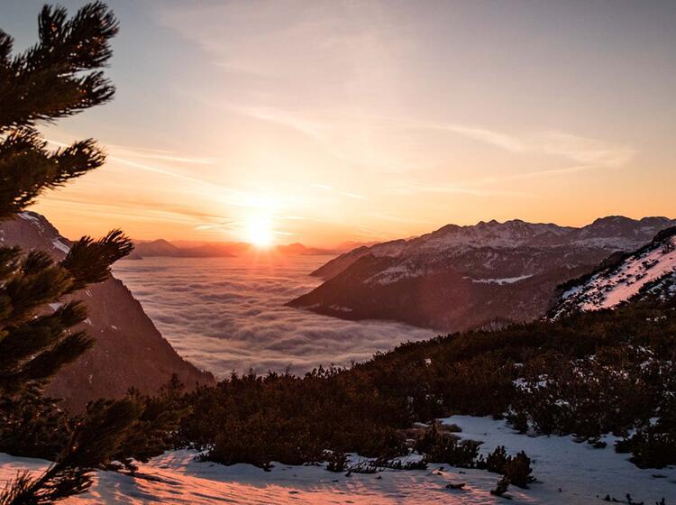 Sonnenaufgang Am Schneibstein Bei Der Skitour Berchtesgaden