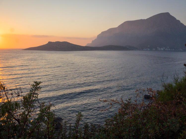 Sonnenuntergang Auf Kalymnos Blick Auf Telendos