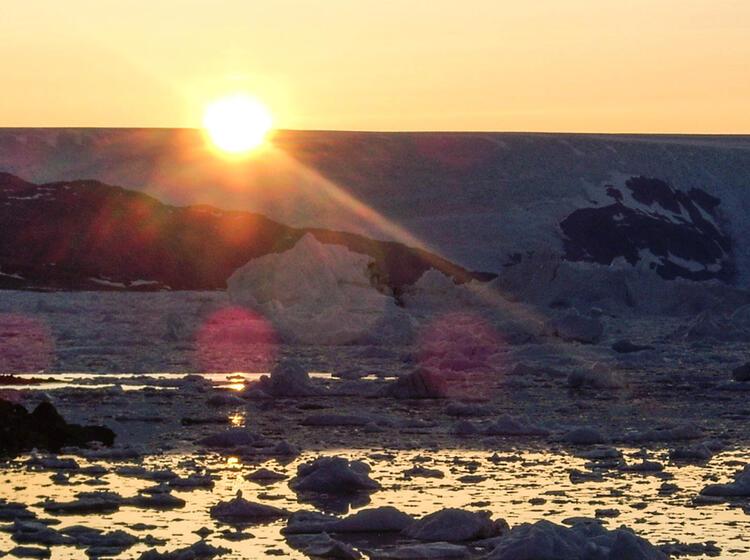 Sonnenuntergang Inlandeis Johan Petersen Fjord Trekkingreise Wanderung Groenland