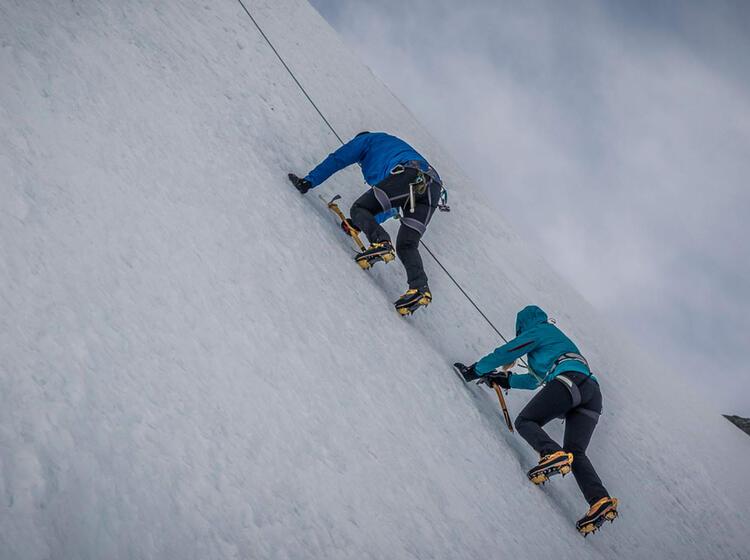Steile Eis Passage Bei Hochtouren