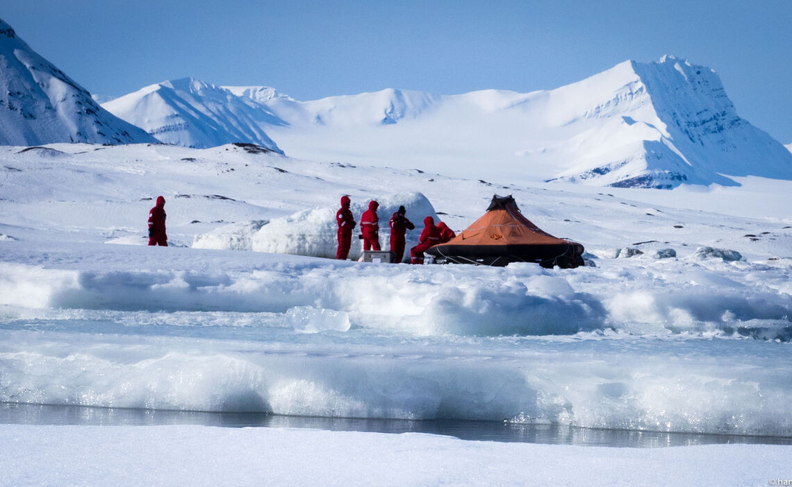 Survivors With Life Raft At Svalbard