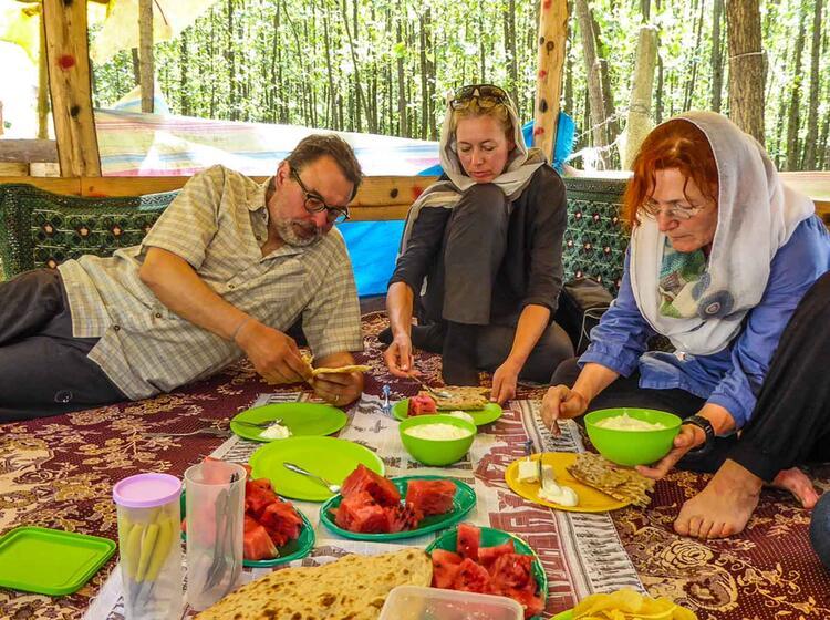 Traditionelles Picknick Im Iran Auf Der Trekkingreise