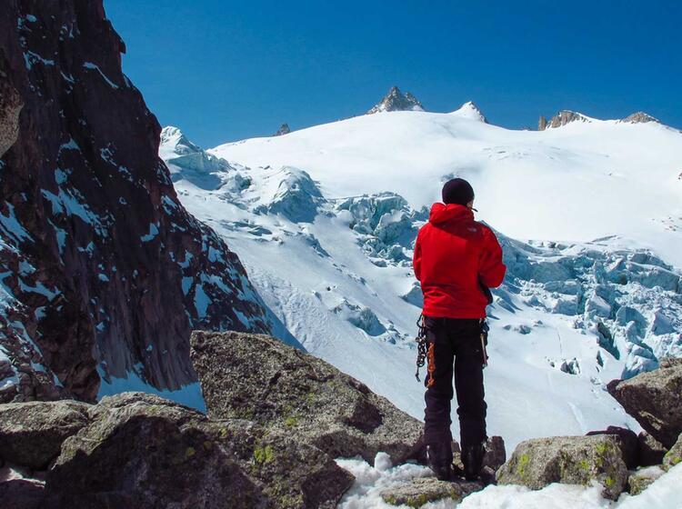 Traum Aussicht Auf Den Gletscherbruch Unterhab Der Aguille Du Tour Auf Der Haute Route