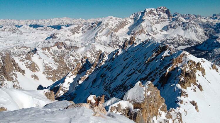 Traum Aussicht In Die Winterlichen Dolomiten Auf Der Schneeschutour Fanes 1