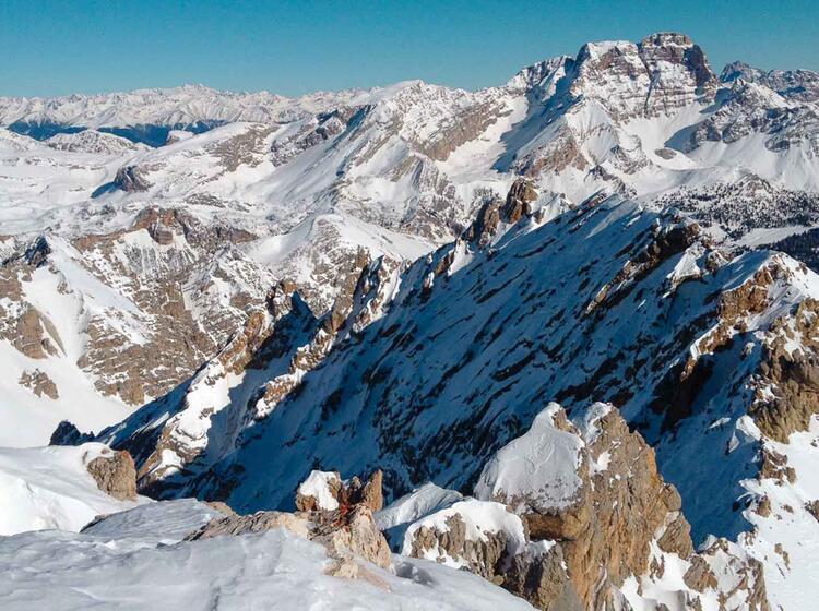 Traum Aussicht In Die Winterlichen Dolomiten Auf Der Schneeschutour Fanes