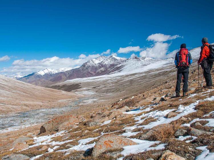 Trekkinreise In Ladakh Auf Der Hochebene Von Nimaling