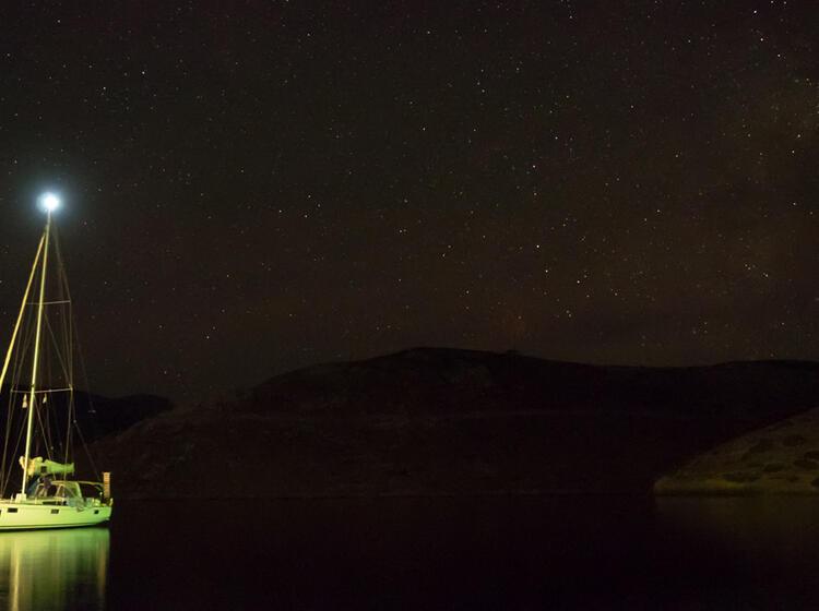 Unser Basislager Bei Nacht Auf Kalymnos