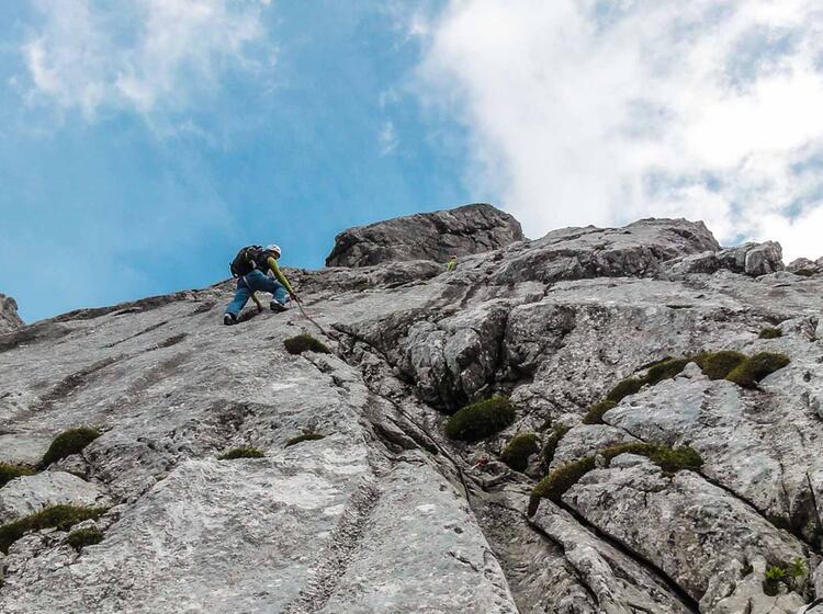 Vorstieg Am Kletterkurs Alpin