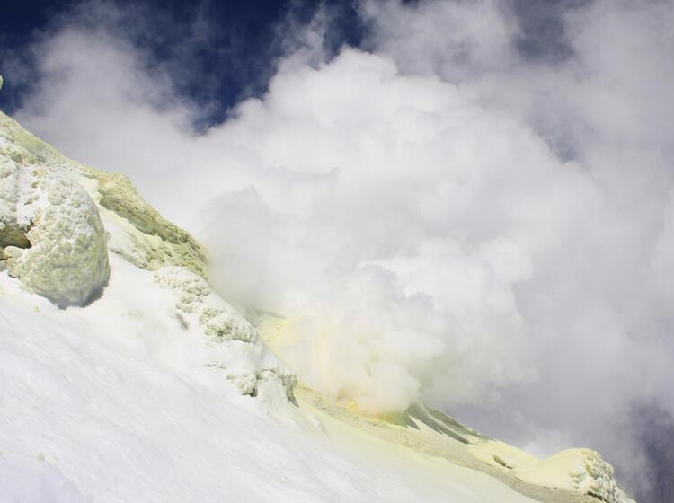 Vulkan Aktivitaet Am Damavand Auf Der Skitouren Reise