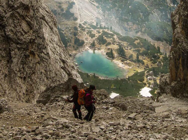 Wandern Auf Der Lavarella Huette In Der Fanes