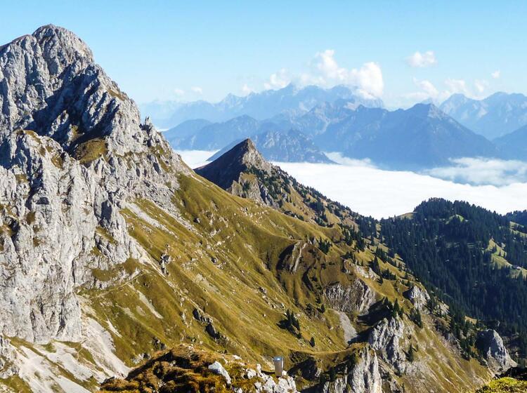 Wandern Im Tannheimer Tal Mit Blick Auf Die Rote Flueh