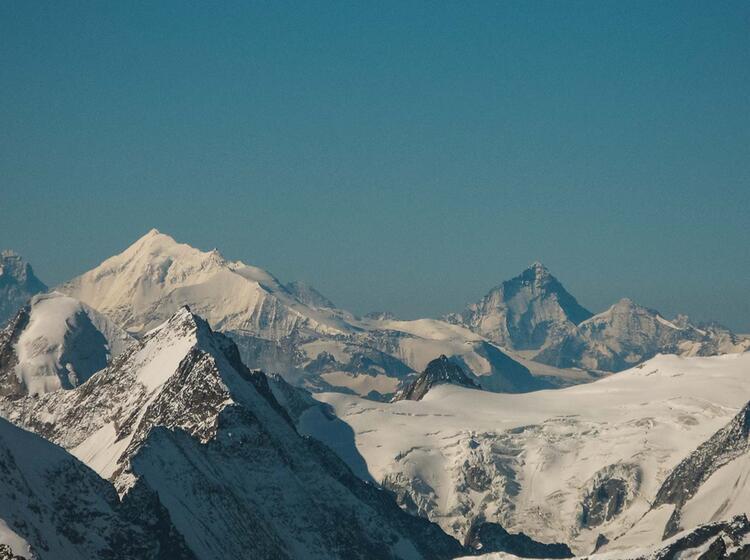 Weisshorn Und Matterhorn Gesehen Aus Dem Berner Oberland